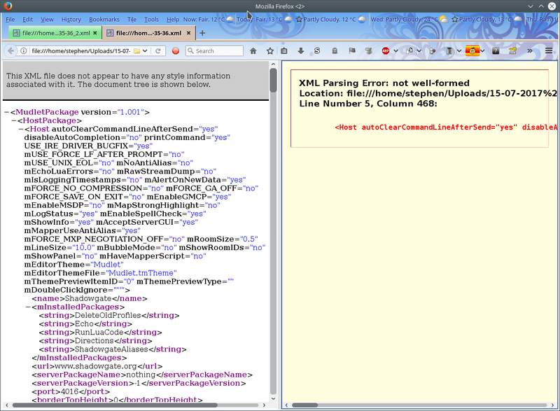 Two webpages shown side-by-side showing difference in FireFox for a valid and damaged Mudlet profile saved .dat file