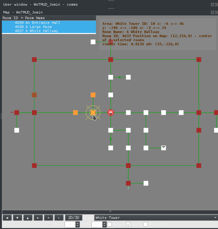 Image of 2D mapper with several rooms selected